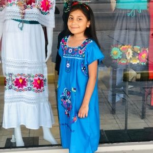 Mexican Dress for Girls Size10 Handmade Embroidery